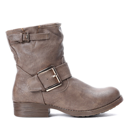 Ankle boots with decorative buckle in khaki Sany - Footwear