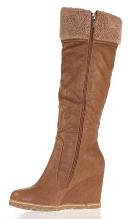 Aplesija brown women's wedge boots - shoes