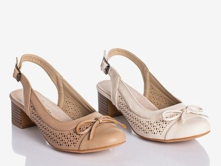 Beige Lecaone women's low-heeled sandals - Footwear
