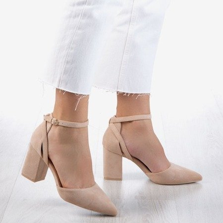 Beige pumps on a higher post Party Time - Footwear 1