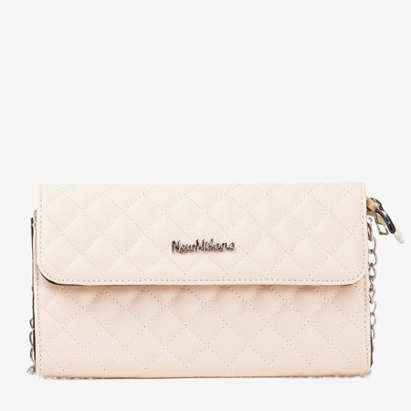 Beige quilted satchel on a silver chain - Handbags 1