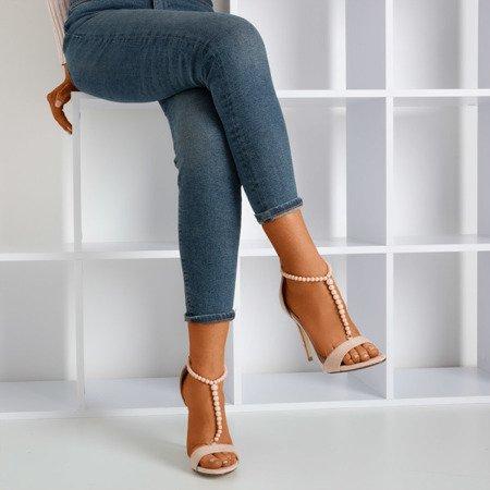 Beige sandals on a higher heel Nastula - Footwear 1
