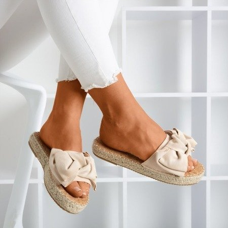 Beige slippers with a Playa bow - Footwear