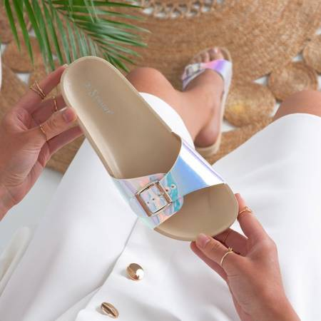 Beige slippers with holographic finish Sabia - Footwear