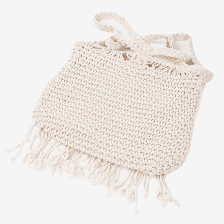 Beige women's handbag with a braided string over the shoulder - Handbags 1
