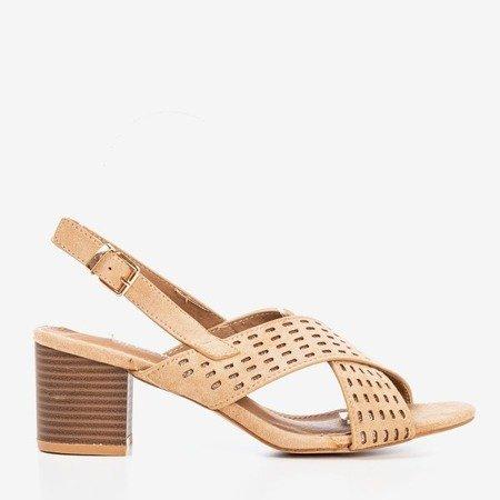 Beige women's sandals on a higher post Galia - Footwear