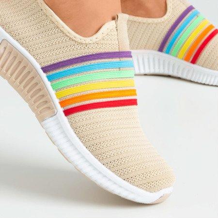 Beige women's sports slip shoes - on Rainbow - Footwear
