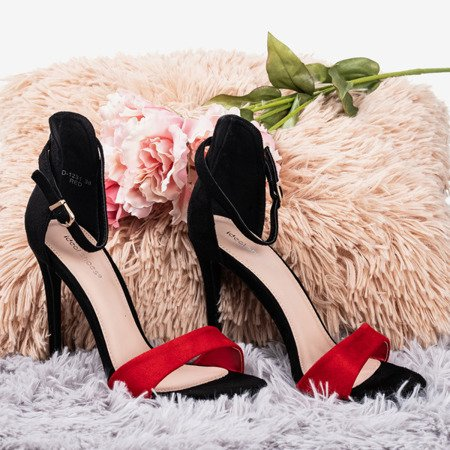 Black and red women's sandals on a high heel Gold Rush - Footwear 1