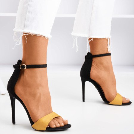 Black and yellow women's sandals on a high heel Gold Rush - Footwear 1
