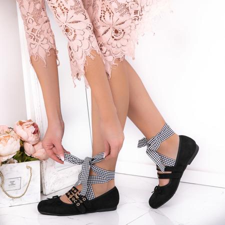 Black ballerinas tied with a ribbon Ballen - Footwear