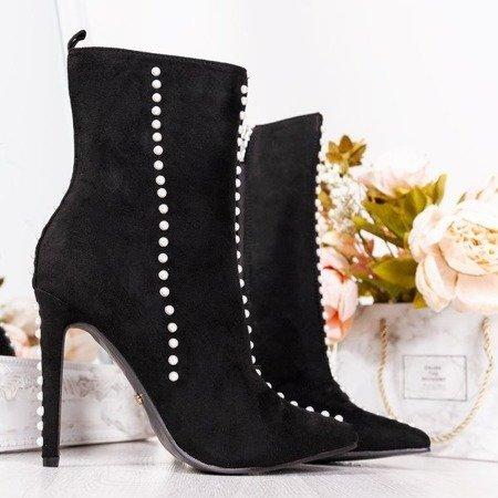 Black boots on a high heel with Sinini pearls - Footwear