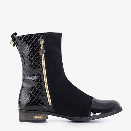 Black boots with a quilted upper Goraw - Footwear