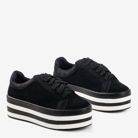 Black brocade women's sneakers on the Acssias platform - Footwear 1
