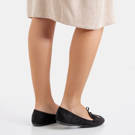 Black loafers with Petronella bow - Footwear