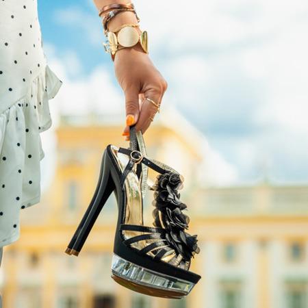 Black sandals on a heel Benitana - Footwear 1