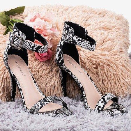 Black sandals on a high heel a'la snake skin Suella - Footwear 1
