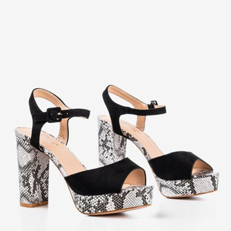 Black sandals on a higher post with a pattern a'la snake skin Silenae - Footwear
