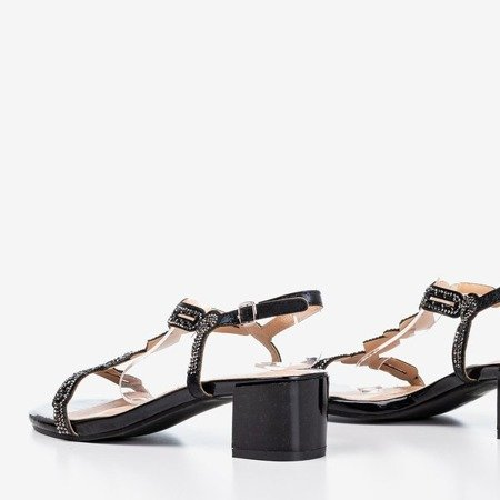 Black sandals on a low post with cubic zirconias Doremia - Footwear