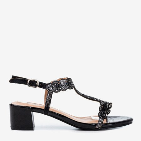 Black sandals on a low post with cubic zirconias Doremies - Footwear