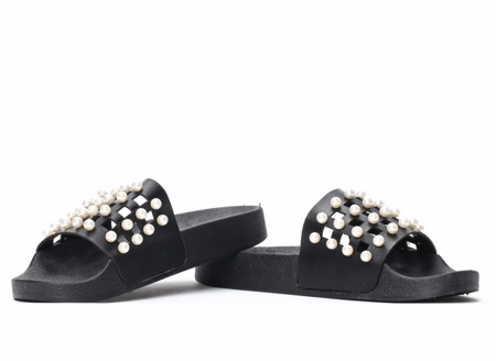 Black slippers with Milam pearls - Footwear 1