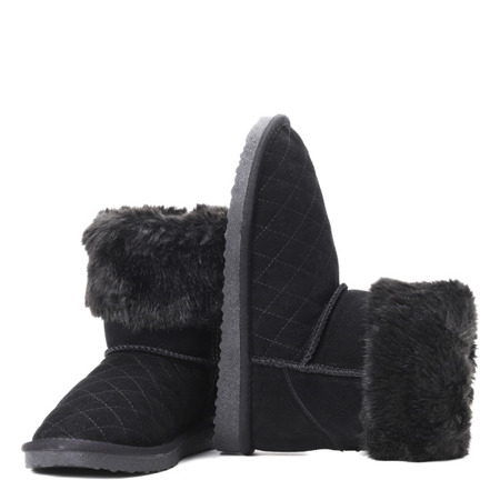 Black snow boots with fur Mani - Footwear