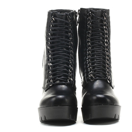 Black women's lace-up boots on the Freqsi post - Footwear