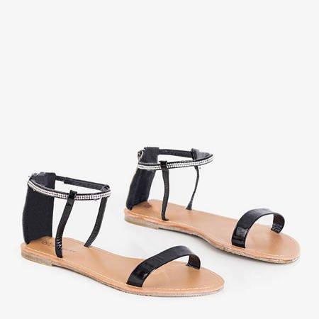 Black women's sandals with cubic zirconias Lilia - Footwear