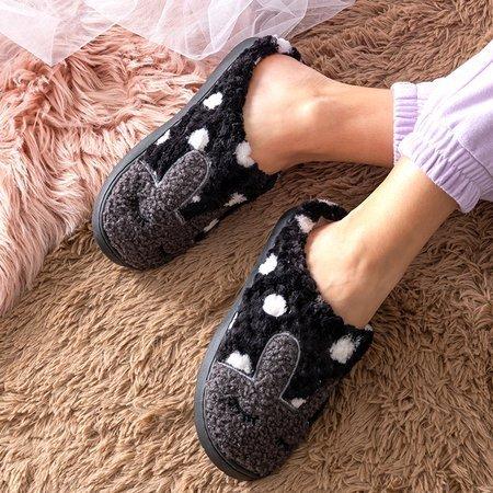 Black women's slippers with a bunny Krystian - Footwear