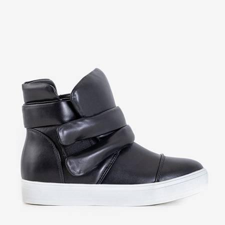 Black women's sneakers on a flat Porew sole - Footwear