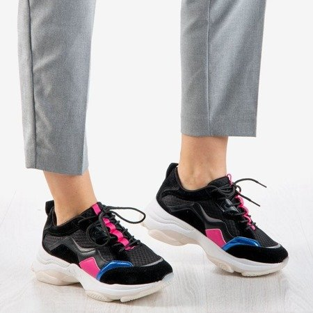 Black women's sneakers with pink inserts Survia - Footwear 1
