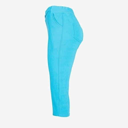 Blue short leggings with a welt - Pants 1