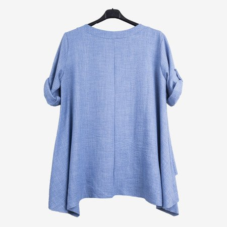 Blue women's tunic with inscriptions - Blouses 1