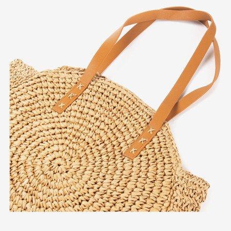 Brown Round Shoulder Straw Straw Bag - Handbags