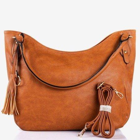 Brown large shoulder bag with tassels - Handbags 1
