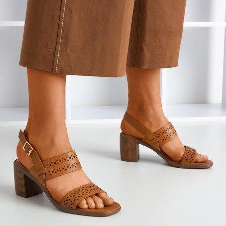 Brown openwork sandals on a higher post Mandorianna - Footwear