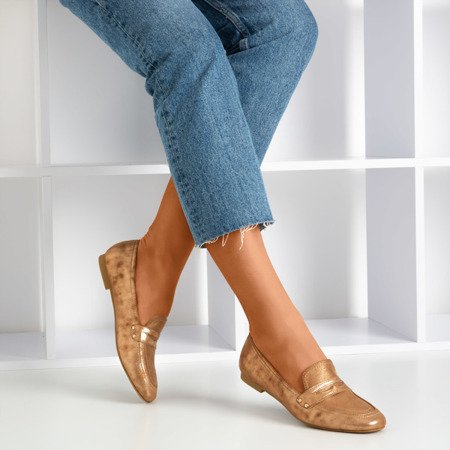 Brown shiny Challa loafers for women - Footwear 1