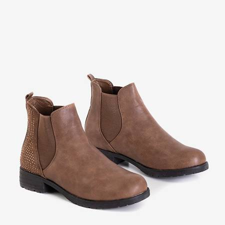 Brown women's Jodhpur boots with cubic zirconia Donni - Footwear
