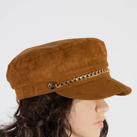 Brown women's beret with a visor - Caps