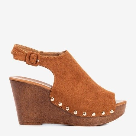 Brown women's sandals on wedge Izida - Footwear 1