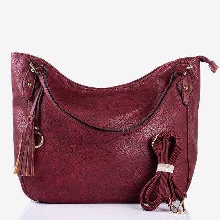 Burgundy large shoulder bag with fringes - Handbags 1