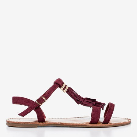 Burgundy sandals with fringes Minikria - Footwear 1