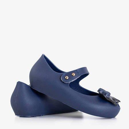 Children's navy blue meliski with decorations from Blanka - Footwear