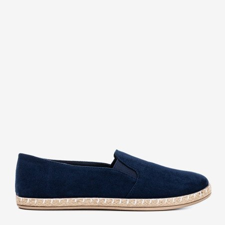 Dark blue women's espadrilles from Melicija eco-suede - Footwear 1