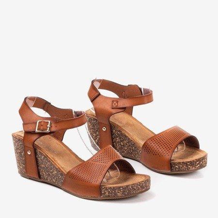Dark brown women's openwork sandals Elemia - Footwear