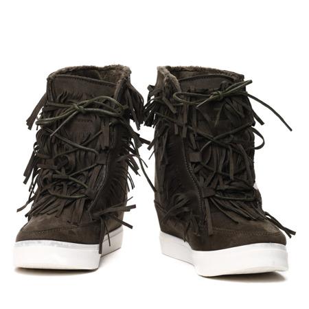 Dark green sneakers with fringes on an indoor wedge Kennedy - Footwear