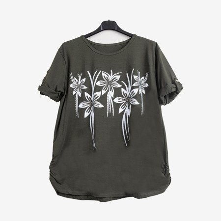Dark green women's tunic with flowers - Blouses 1