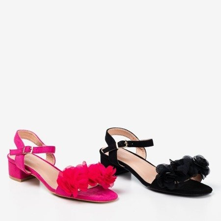 Fuchsia women's sandals on a low post with flowers Flonia - Footwear 1