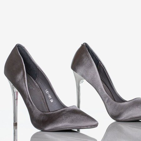 Gray Gold Star satin women's stilettos - Footwear 1
