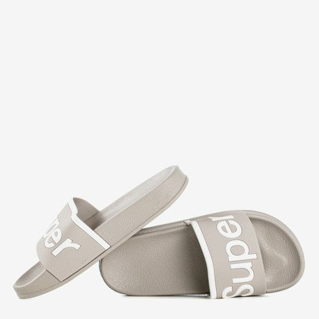 Gray children's slippers with Super inscription - Footwear