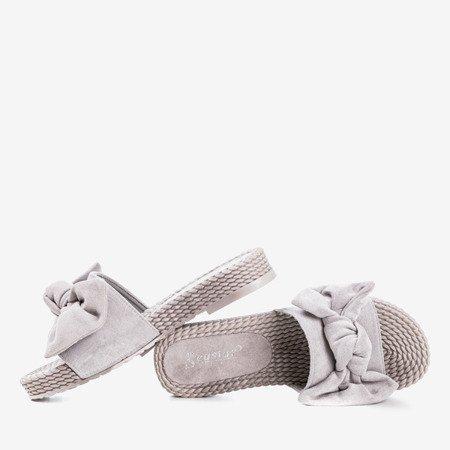 Gray flip flops with Sabella bow - Footwear 1